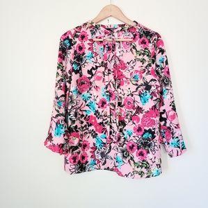 NWOT Kensie floral pink top L